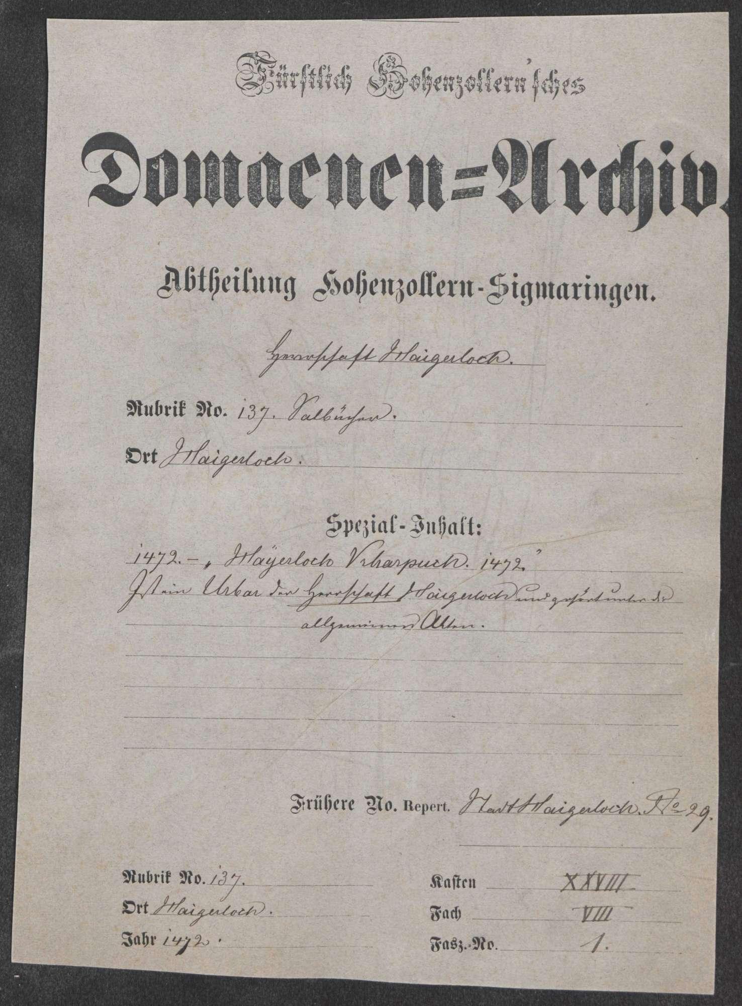 """Haigerloch: """"Hayerloch Urbarbuch"""" von 1472; Urbar der Herrschaft Haigerloch, Bild 1"""