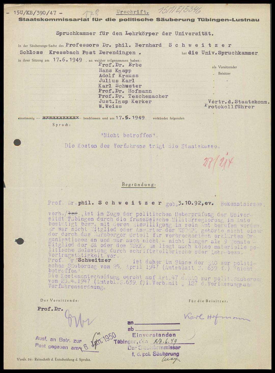 Schweitzer, Bernhard, Prof. Dr. phil., Bild 1