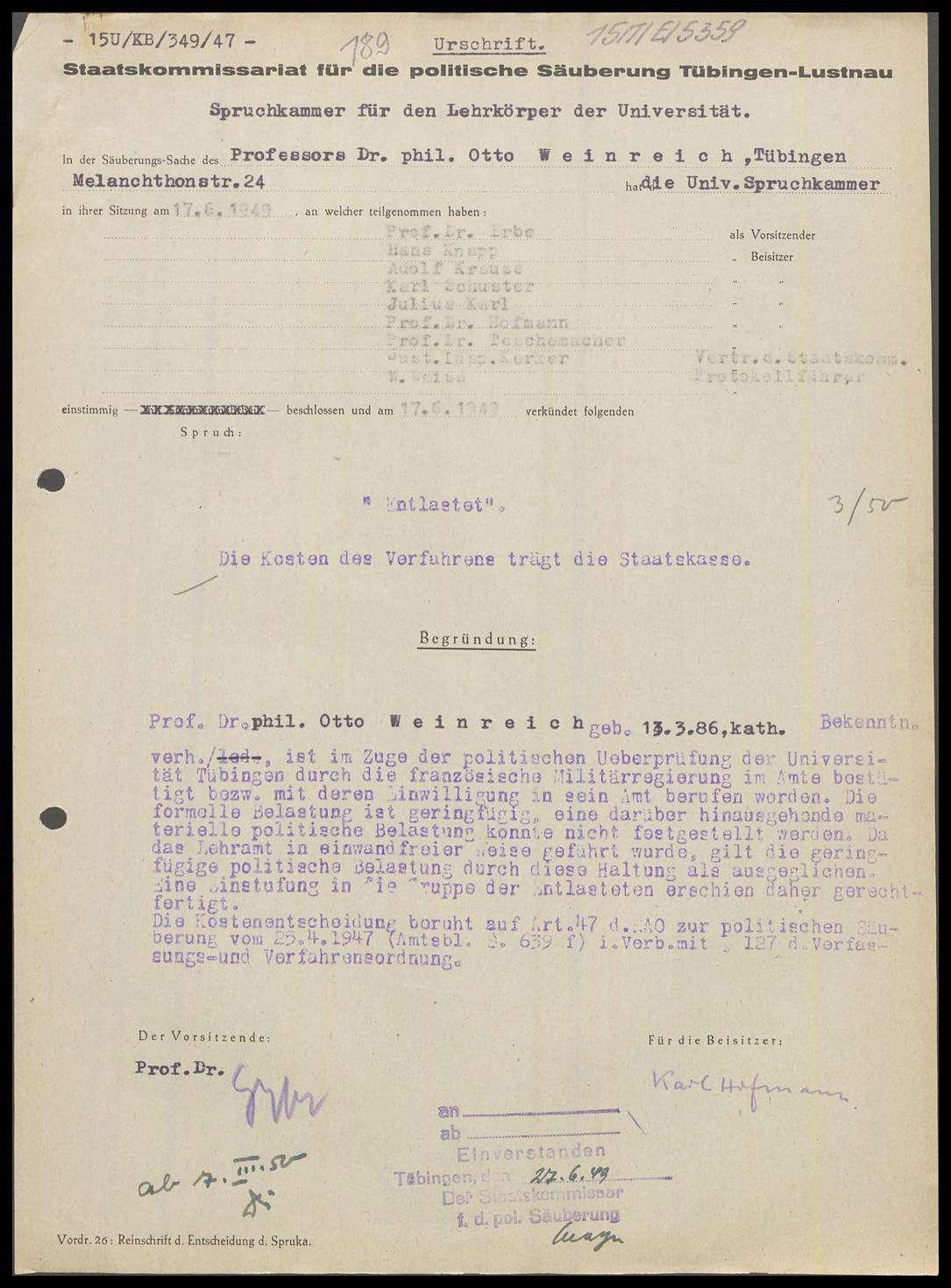 Weinreich, Otto, Prof. Dr. phil., Bild 1
