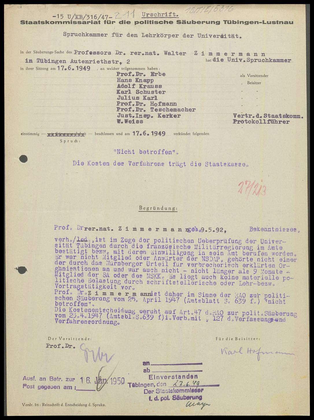 Zimmermann, Walter, Dr. rer. nat., Bild 1