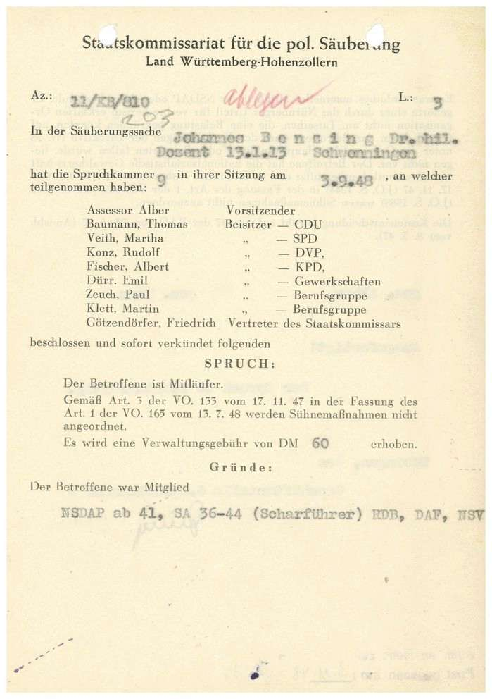 Benzing, Johannes, Dr. phil., Bild 1