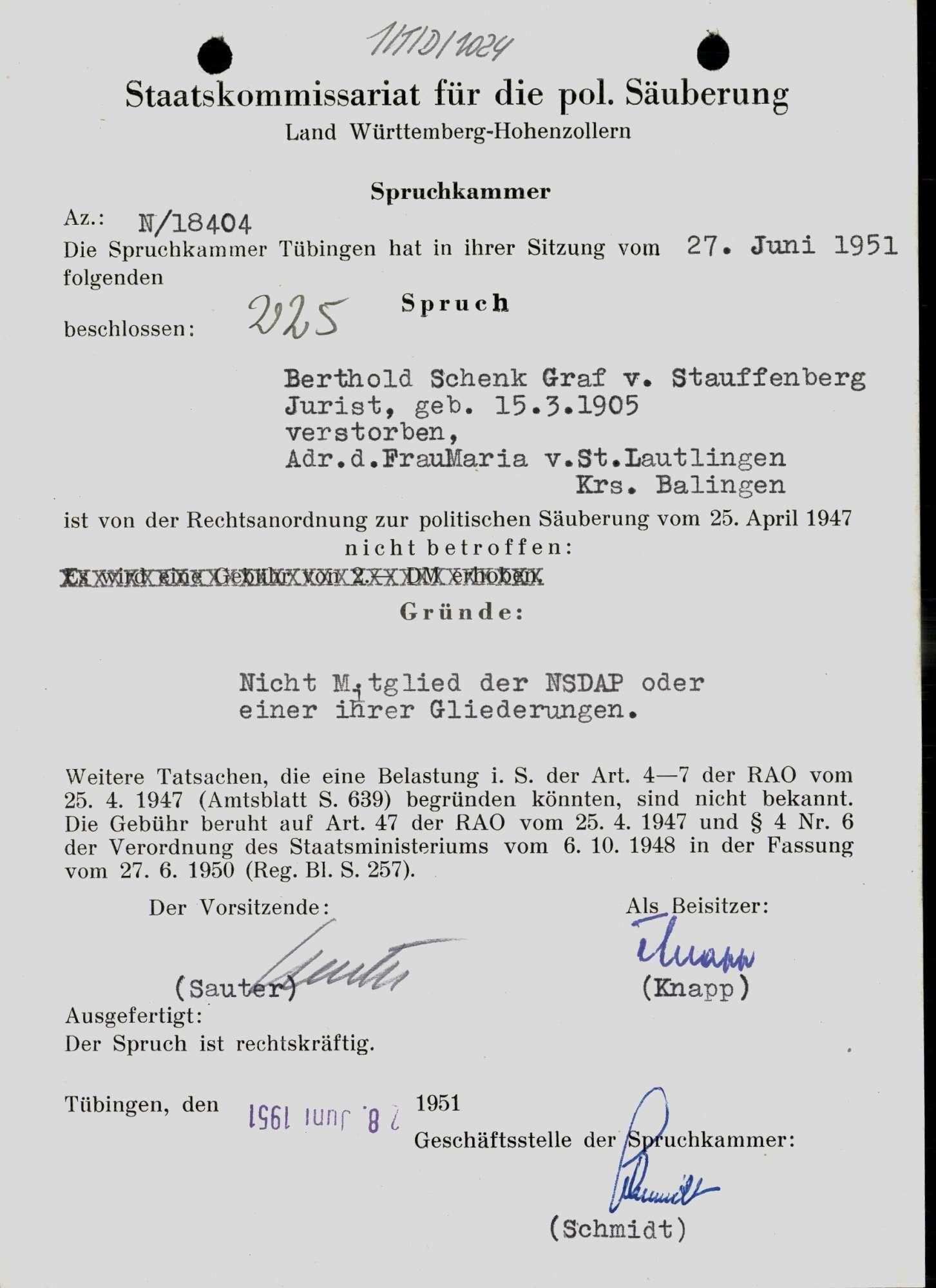 Schenk von Stauffenberg, Berthold, Bild 1