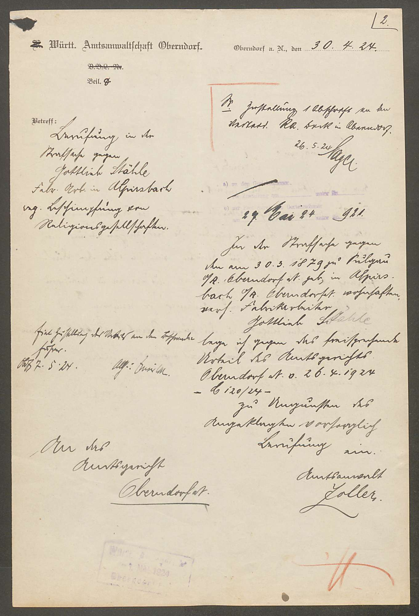 Stähle, Gottlieb, Bild 2
