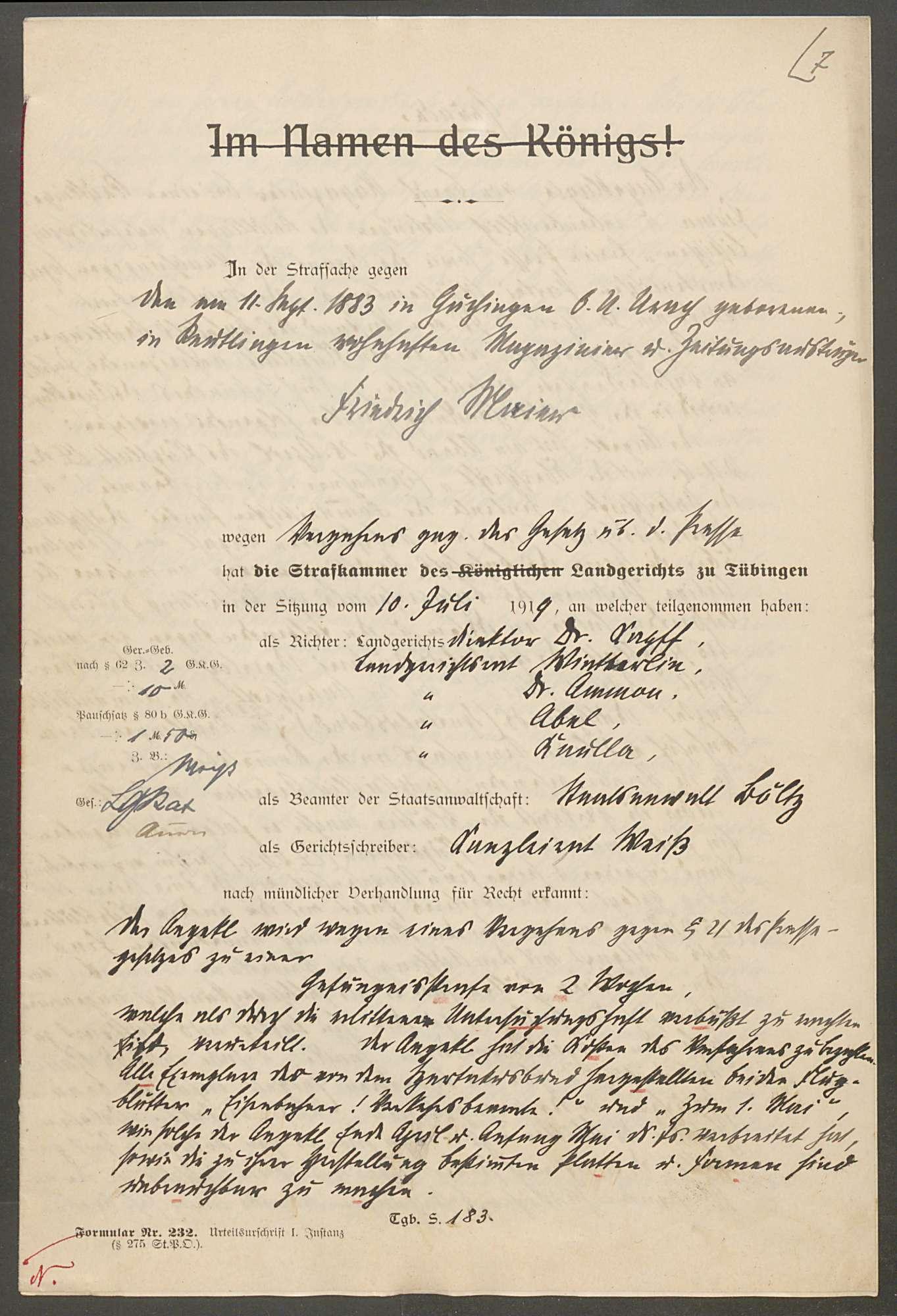 Strafsache gegen Friedrich Maier, Magazinier und Zeitungsträger von Reutlingen, Bild 2