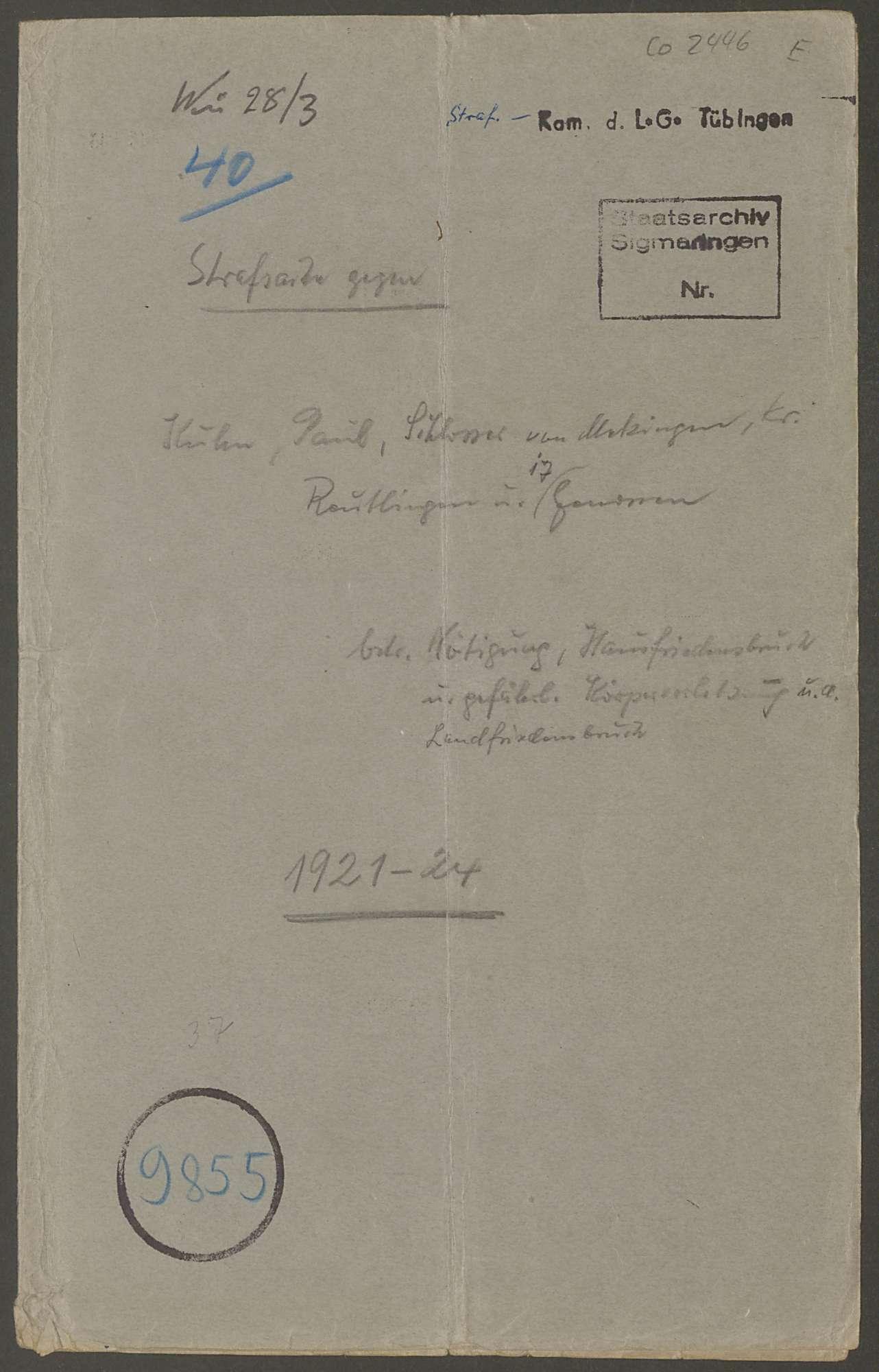 Strafsache gegen den Schlosser Paul Kuhn von Metzingen Kreis Reutlingen und 17 Gen., Bild 1