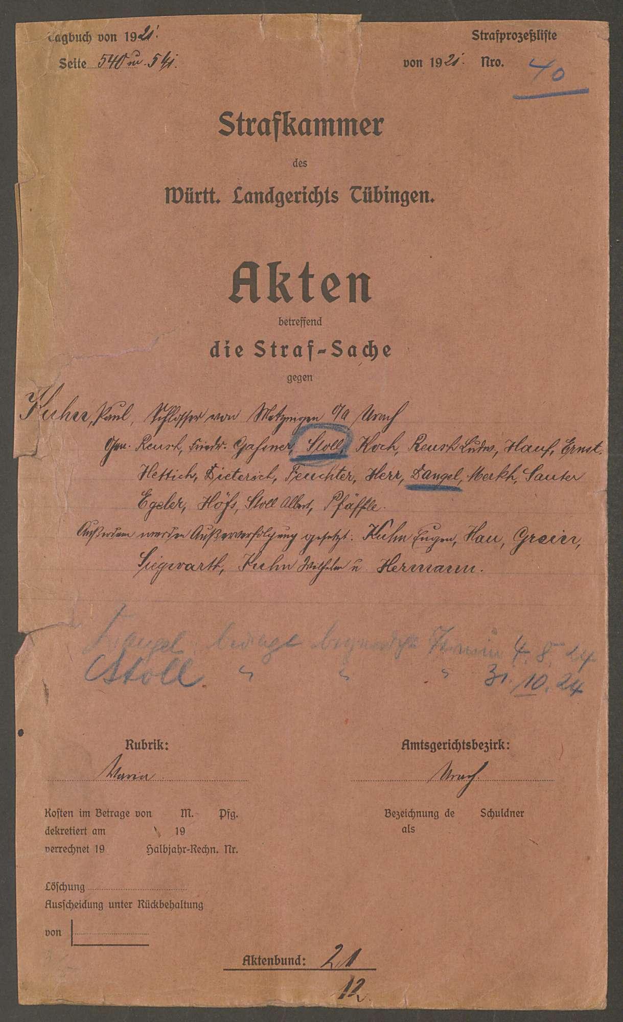 Strafsache gegen den Schlosser Paul Kuhn von Metzingen Kreis Reutlingen und 17 Gen., Bild 2
