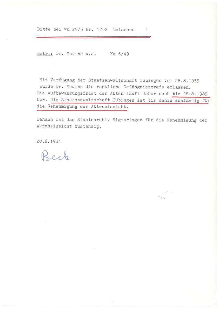 Korrespondenz mit Anwälten, Prozessvollmachten, Selbstablehnung des Landgerichtsdirektors Biedermann wegen Befangenheit aufgrund der freundschaftlichen Beziehung zu dem Angeklagten Dr. Eyrich - Qu. 72-97, Bild 1