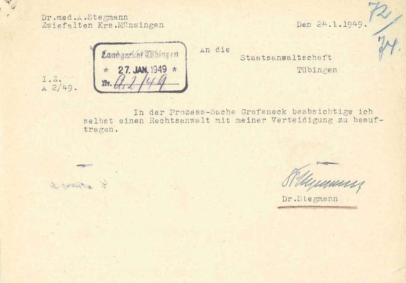 Korrespondenz mit Anwälten, Prozessvollmachten, Selbstablehnung des Landgerichtsdirektors Biedermann wegen Befangenheit aufgrund der freundschaftlichen Beziehung zu dem Angeklagten Dr. Eyrich - Qu. 72-97, Bild 2