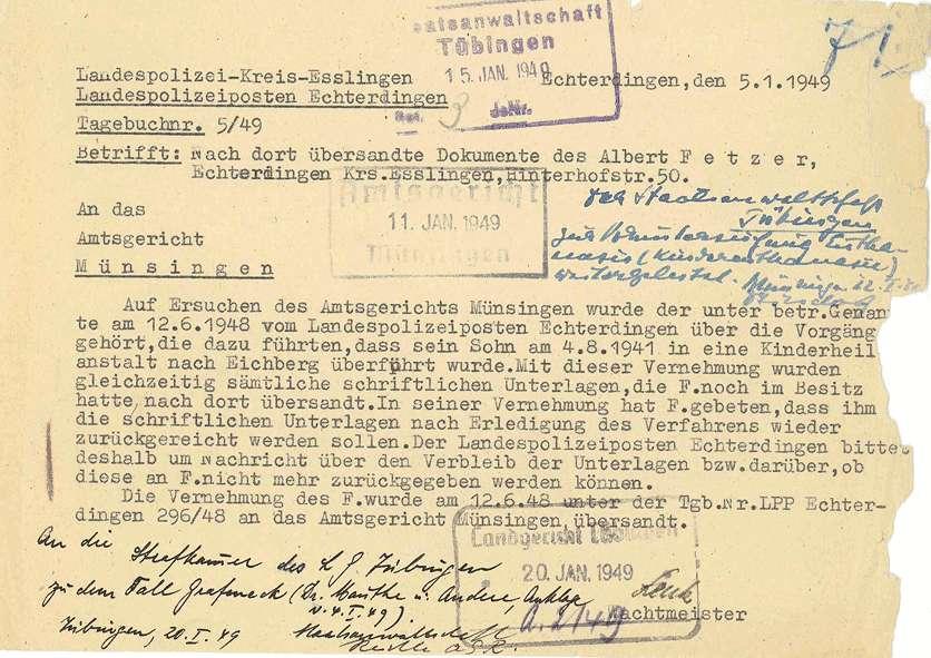 Korrespondenz mit Anwälten, Prozessvollmachten, Selbstablehnung des Landgerichtsdirektors Biedermann wegen Befangenheit aufgrund der freundschaftlichen Beziehung zu dem Angeklagten Dr. Eyrich - Qu. 72-97, Bild 3