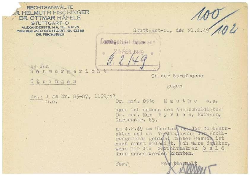 Prozessvollmachten Dr. Otto Mauthe, Dr. Max Eyrich - Qu. 100-104, Bild 1