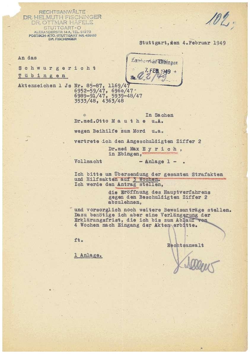 Prozessvollmachten Dr. Otto Mauthe, Dr. Max Eyrich - Qu. 100-104, Bild 3