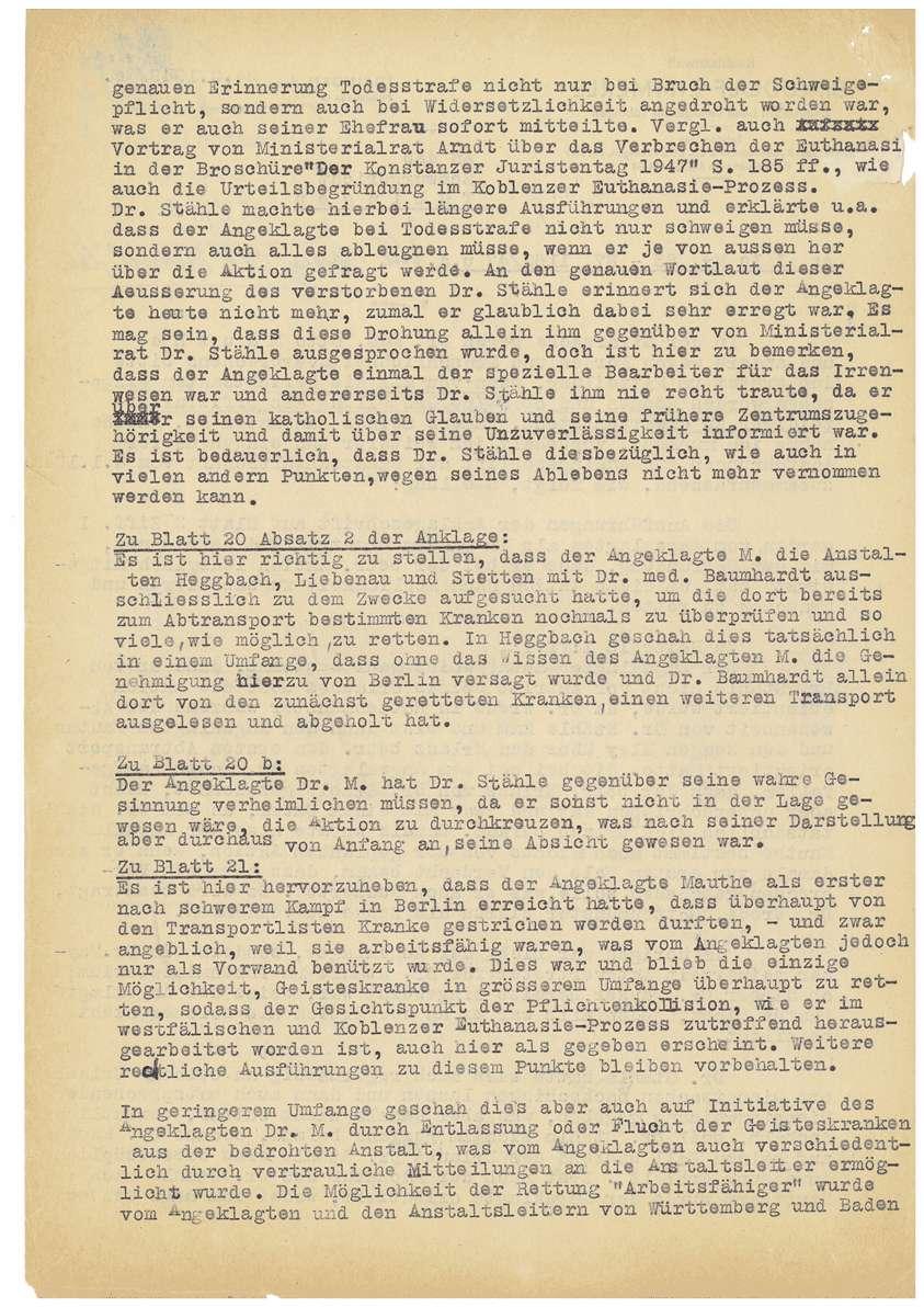 Korrespondenz Rechtsanwalt Dr. Rudolf Zimmerle betreffend Akteneinsicht für die Verteidigung seines Mandanten Dr. Otto Mauthe und Berichtigung der Anklageschrift - Qu. 111-117, Bild 2