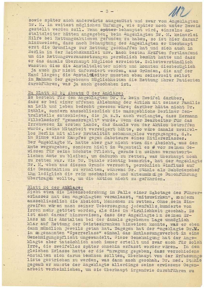 Korrespondenz Rechtsanwalt Dr. Rudolf Zimmerle betreffend Akteneinsicht für die Verteidigung seines Mandanten Dr. Otto Mauthe und Berichtigung der Anklageschrift - Qu. 111-117, Bild 3