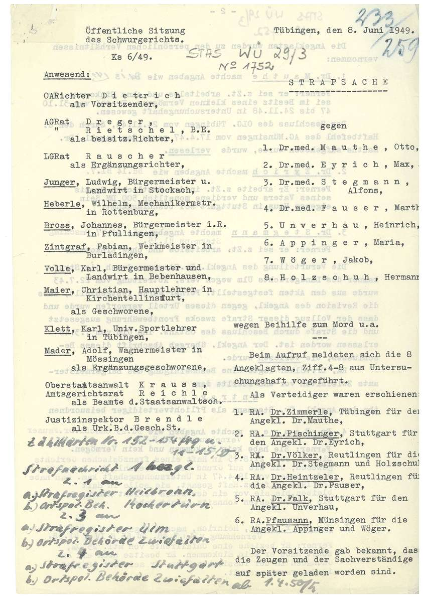 Prozess vor dem Landgericht (Schwurgericht) Tübingen gegen Dr. Mauthe, Dr. Eyrich, Dr. Stegmann, Dr. Fauser u.a. - Qu. 233-259, Bild 1
