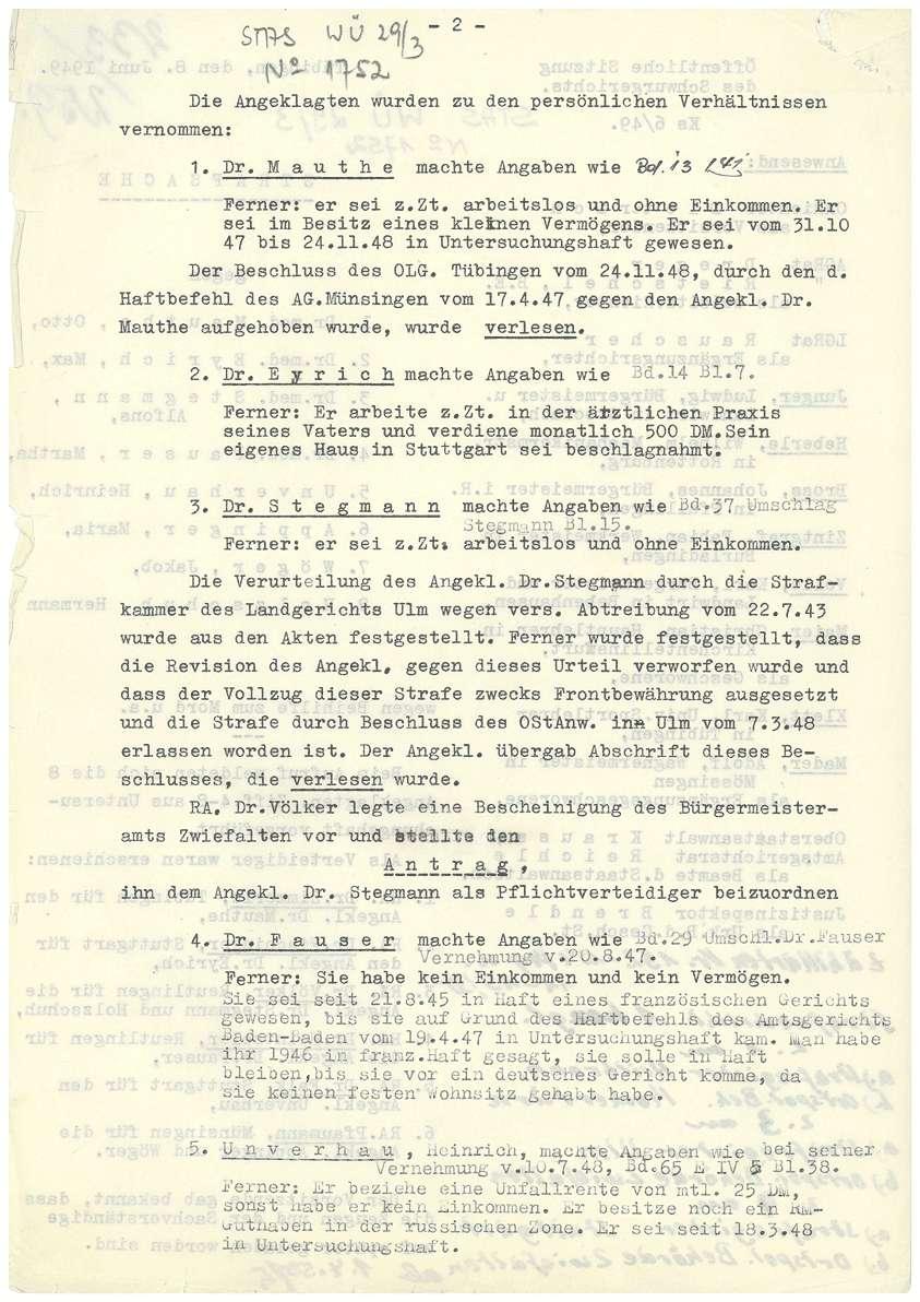 Prozess vor dem Landgericht (Schwurgericht) Tübingen gegen Dr. Mauthe, Dr. Eyrich, Dr. Stegmann, Dr. Fauser u.a. - Qu. 233-259, Bild 2
