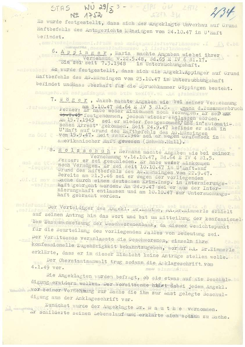 Prozess vor dem Landgericht (Schwurgericht) Tübingen gegen Dr. Mauthe, Dr. Eyrich, Dr. Stegmann, Dr. Fauser u.a. - Qu. 233-259, Bild 3