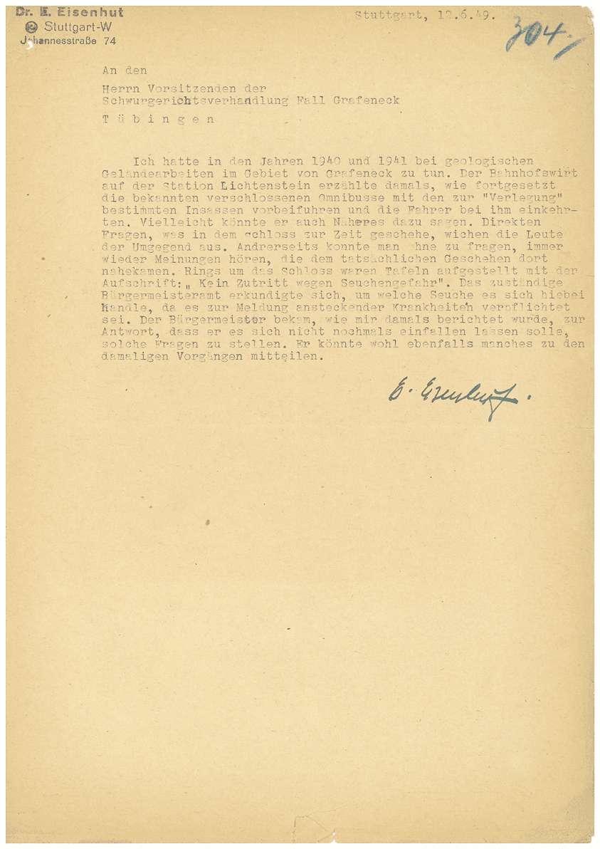 Todesmitteilungen von Grafeneck an die Hinterbliebenen (Namen entfernt), Zeugenladungen, Zeugenaussagen; Rechtsanwalt Dr. Rudolf Zimmerle: Pladoyer für Dr. Otto Mauthe (14.06.1949) u.a. - Qu. 304-359, Bild 1
