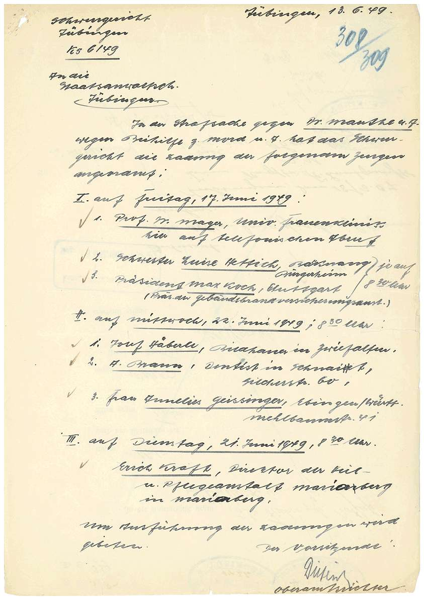 Todesmitteilungen von Grafeneck an die Hinterbliebenen (Namen entfernt), Zeugenladungen, Zeugenaussagen; Rechtsanwalt Dr. Rudolf Zimmerle: Pladoyer für Dr. Otto Mauthe (14.06.1949) u.a. - Qu. 304-359, Bild 2