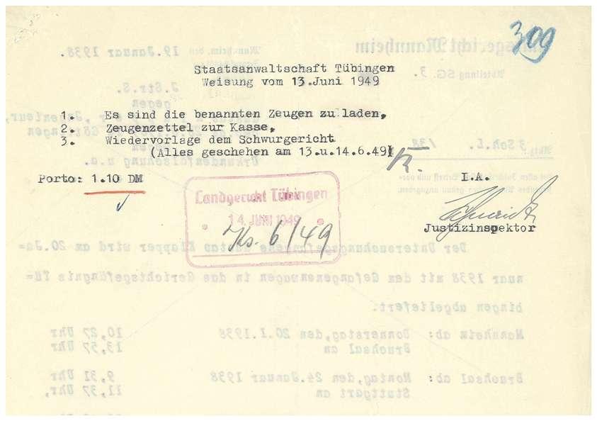 Todesmitteilungen von Grafeneck an die Hinterbliebenen (Namen entfernt), Zeugenladungen, Zeugenaussagen; Rechtsanwalt Dr. Rudolf Zimmerle: Pladoyer für Dr. Otto Mauthe (14.06.1949) u.a. - Qu. 304-359, Bild 3