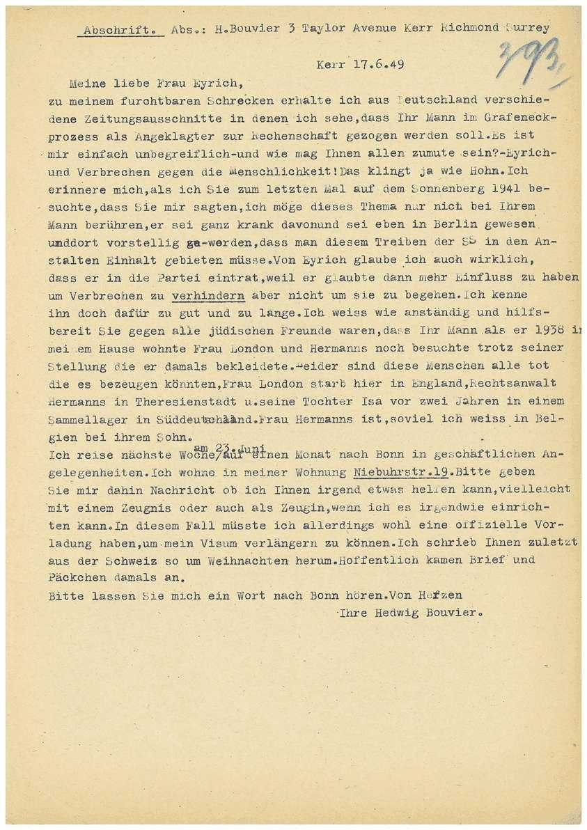 Dr. Otto Mauthe - persönliche Verteidigung - Revisionseinlegung gegen das Urteil vom 05.07.1949 durch seinen Anwalt Dr. Rudolf Zimmerle, Revisionsantrag von Dr. Otto Mauthe an die Strafkammer des Landgerichts Tübingen, Zeugenaussagen u.a. - Qu. 393-421, Bild 1