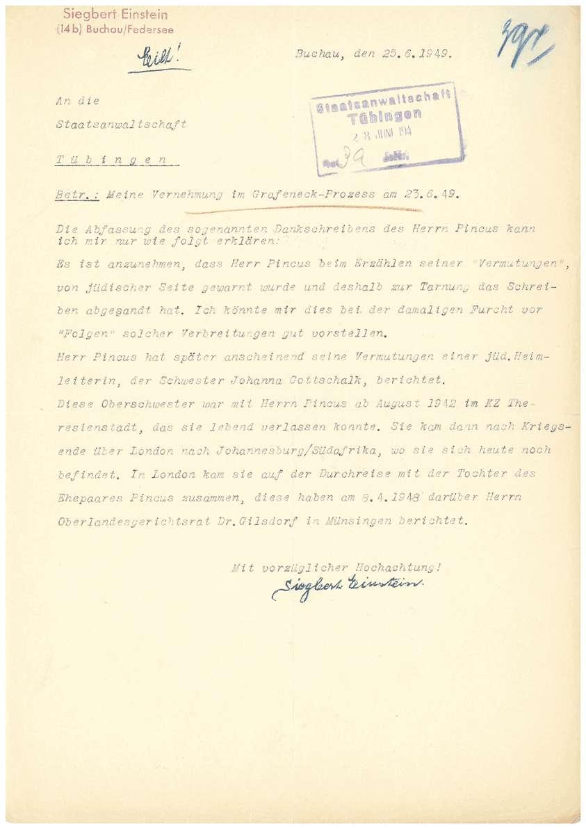 Dr. Otto Mauthe - persönliche Verteidigung - Revisionseinlegung gegen das Urteil vom 05.07.1949 durch seinen Anwalt Dr. Rudolf Zimmerle, Revisionsantrag von Dr. Otto Mauthe an die Strafkammer des Landgerichts Tübingen, Zeugenaussagen u.a. - Qu. 393-421, Bild 2