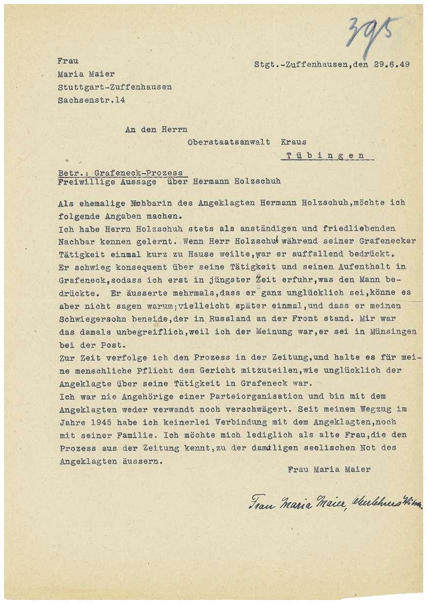 Dr. Otto Mauthe - persönliche Verteidigung - Revisionseinlegung gegen das Urteil vom 05.07.1949 durch seinen Anwalt Dr. Rudolf Zimmerle, Revisionsantrag von Dr. Otto Mauthe an die Strafkammer des Landgerichts Tübingen, Zeugenaussagen u.a. - Qu. 393-421, Bild 3