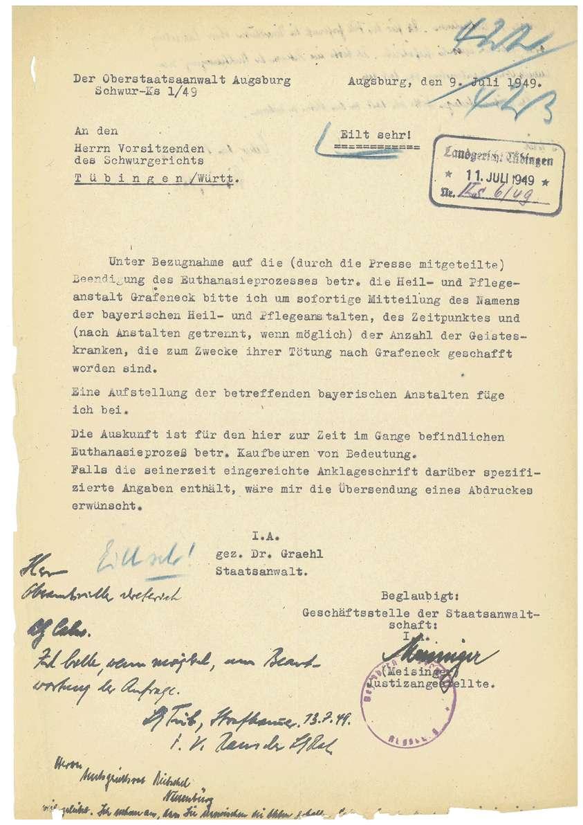 Amtsärztliches Gutachten Dr. Otto Mauthe betreffend Haftfähigkeit, Aufhebung des Haftbefehls Dr. Otto Mauthe durch das Oberlandesgericht Tübingen (18.07.1949), Haftbeschluss Dr. Martha Fauser (15.10.1948), Haftbeschluss Dr. Mauthe (24.11.1948) u.a. - Qu. 422-444, Bild 1