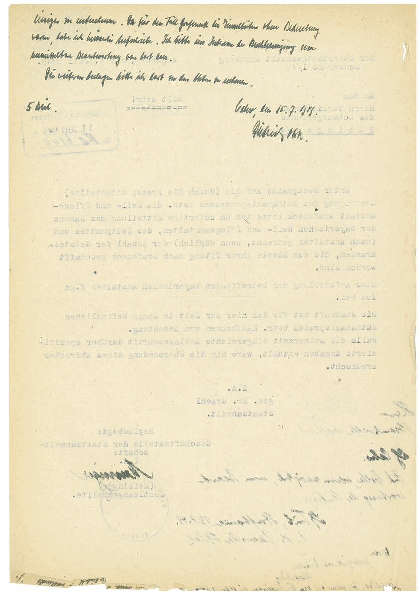 Amtsärztliches Gutachten Dr. Otto Mauthe betreffend Haftfähigkeit, Aufhebung des Haftbefehls Dr. Otto Mauthe durch das Oberlandesgericht Tübingen (18.07.1949), Haftbeschluss Dr. Martha Fauser (15.10.1948), Haftbeschluss Dr. Mauthe (24.11.1948) u.a. - Qu. 422-444, Bild 2
