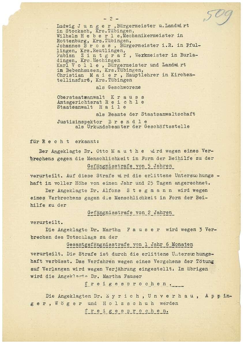 Urteil in der Strafsache Dr. Otto Mauthe u.a. wegen Euthanasie - Qu. 508-560, Blatt 1-53, Bild 2
