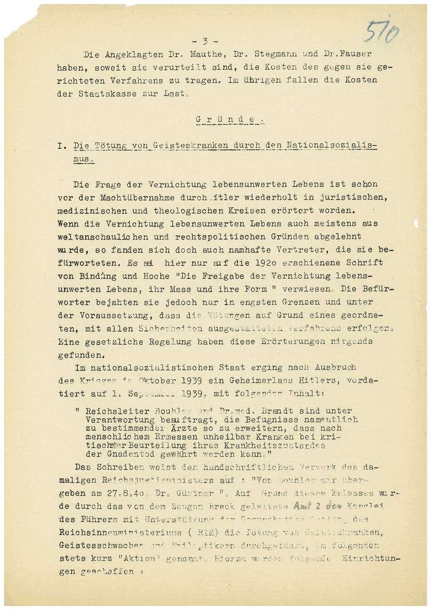 Urteil in der Strafsache Dr. Otto Mauthe u.a. wegen Euthanasie - Qu. 508-560, Blatt 1-53, Bild 3