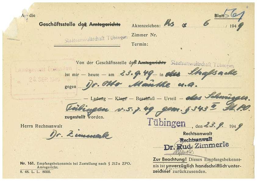 Postzustellungsurkunden; Revisionsunterlagen Dr. Otto Mauthe; Urteil Strafsache Dr. Otto Mauthe u.a. (Mehrfertigung); sonstiger Schriftverkehr - Qu. 561-649 a, Bild 1