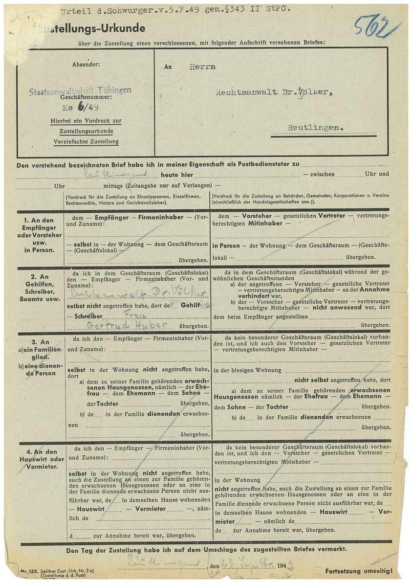 Postzustellungsurkunden; Revisionsunterlagen Dr. Otto Mauthe; Urteil Strafsache Dr. Otto Mauthe u.a. (Mehrfertigung); sonstiger Schriftverkehr - Qu. 561-649 a, Bild 2
