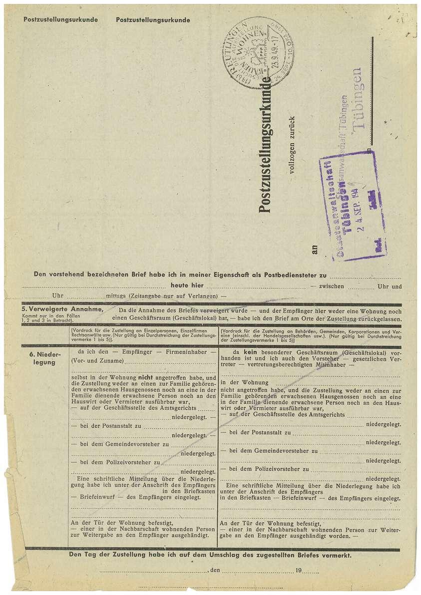 Postzustellungsurkunden; Revisionsunterlagen Dr. Otto Mauthe; Urteil Strafsache Dr. Otto Mauthe u.a. (Mehrfertigung); sonstiger Schriftverkehr - Qu. 561-649 a, Bild 3