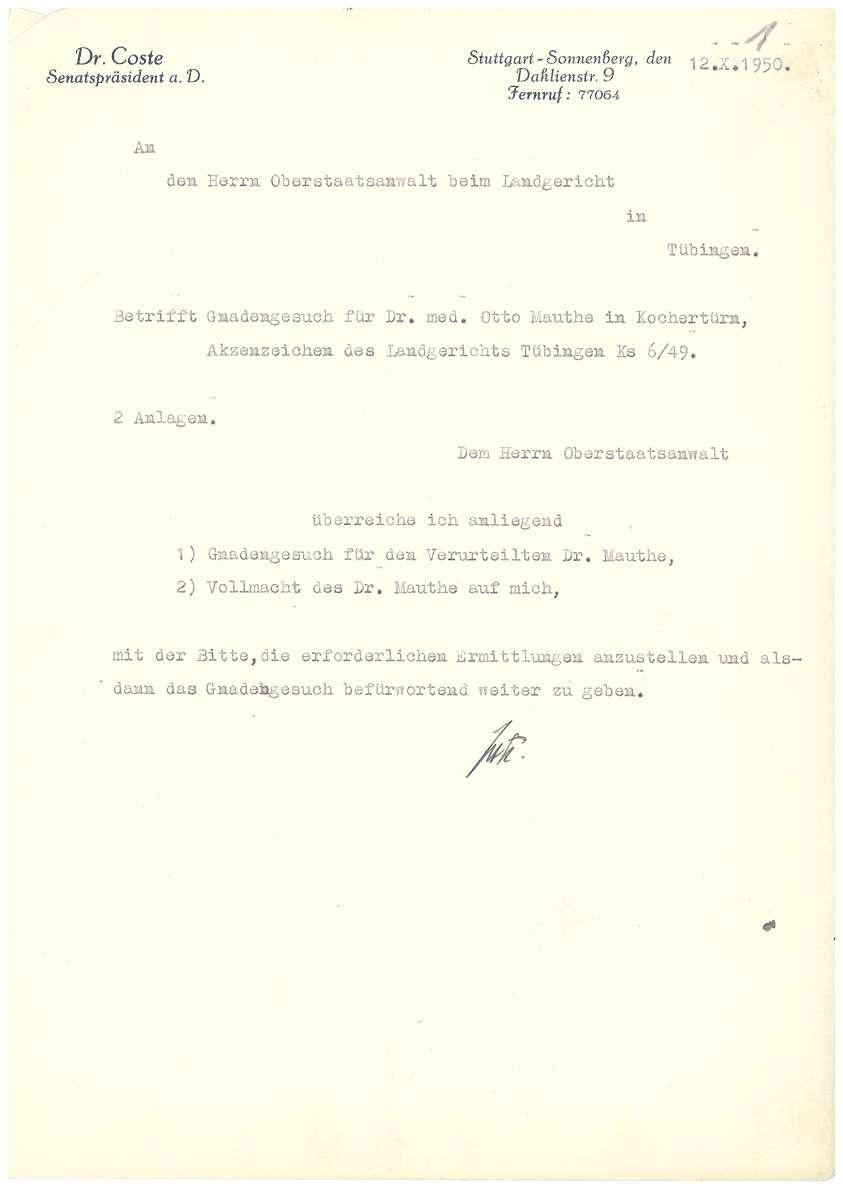 Dr. Otto Mauthe - Gnadengesuch an den Oberstaatsanwalt in Tübingen, Befürwortungsschreiben zum Gnadengesuch des Bischofs von Rottenburg u.a. - Blatt 01-16, Bild 1