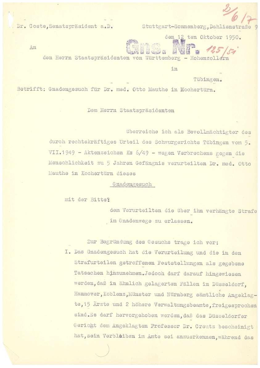 Dr. Otto Mauthe - Gnadengesuch an den Oberstaatsanwalt in Tübingen, Befürwortungsschreiben zum Gnadengesuch des Bischofs von Rottenburg u.a. - Blatt 01-16, Bild 2