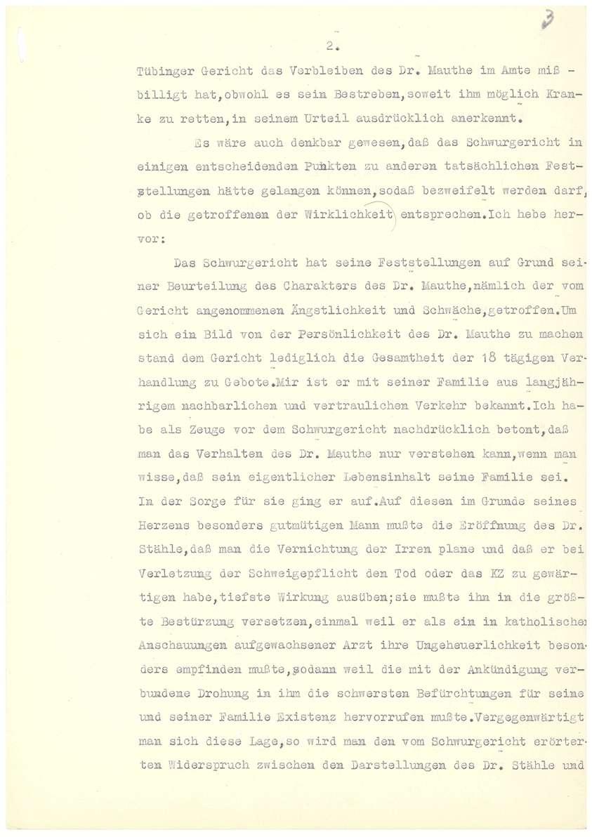 Dr. Otto Mauthe - Gnadengesuch an den Oberstaatsanwalt in Tübingen, Befürwortungsschreiben zum Gnadengesuch des Bischofs von Rottenburg u.a. - Blatt 01-16, Bild 3