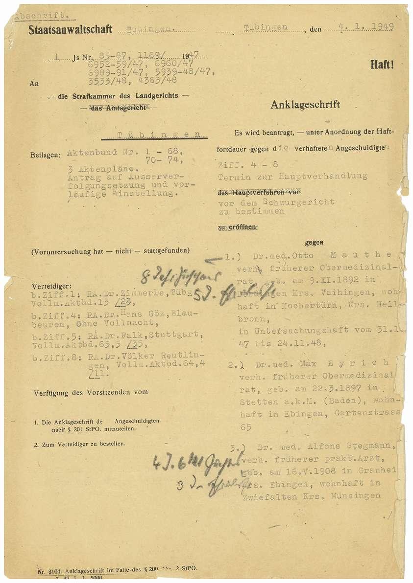 Anklageschrift der Staatsanwaltschaft Tübingen gegen Dr. Otto Mauthe, Dr. Max Eyrich, Dr. Alfons Stegmann, Dr. Martha Fauser, Heinrich Unverhau, Maria Appinger, Jakob Wöger, Hermann Holzschuh - Blatt 1-62, Bild 1