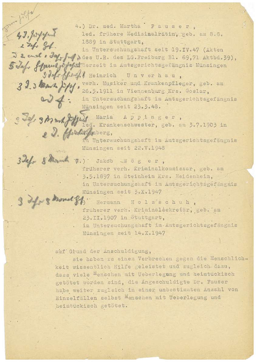 Anklageschrift der Staatsanwaltschaft Tübingen gegen Dr. Otto Mauthe, Dr. Max Eyrich, Dr. Alfons Stegmann, Dr. Martha Fauser, Heinrich Unverhau, Maria Appinger, Jakob Wöger, Hermann Holzschuh - Blatt 1-62, Bild 2