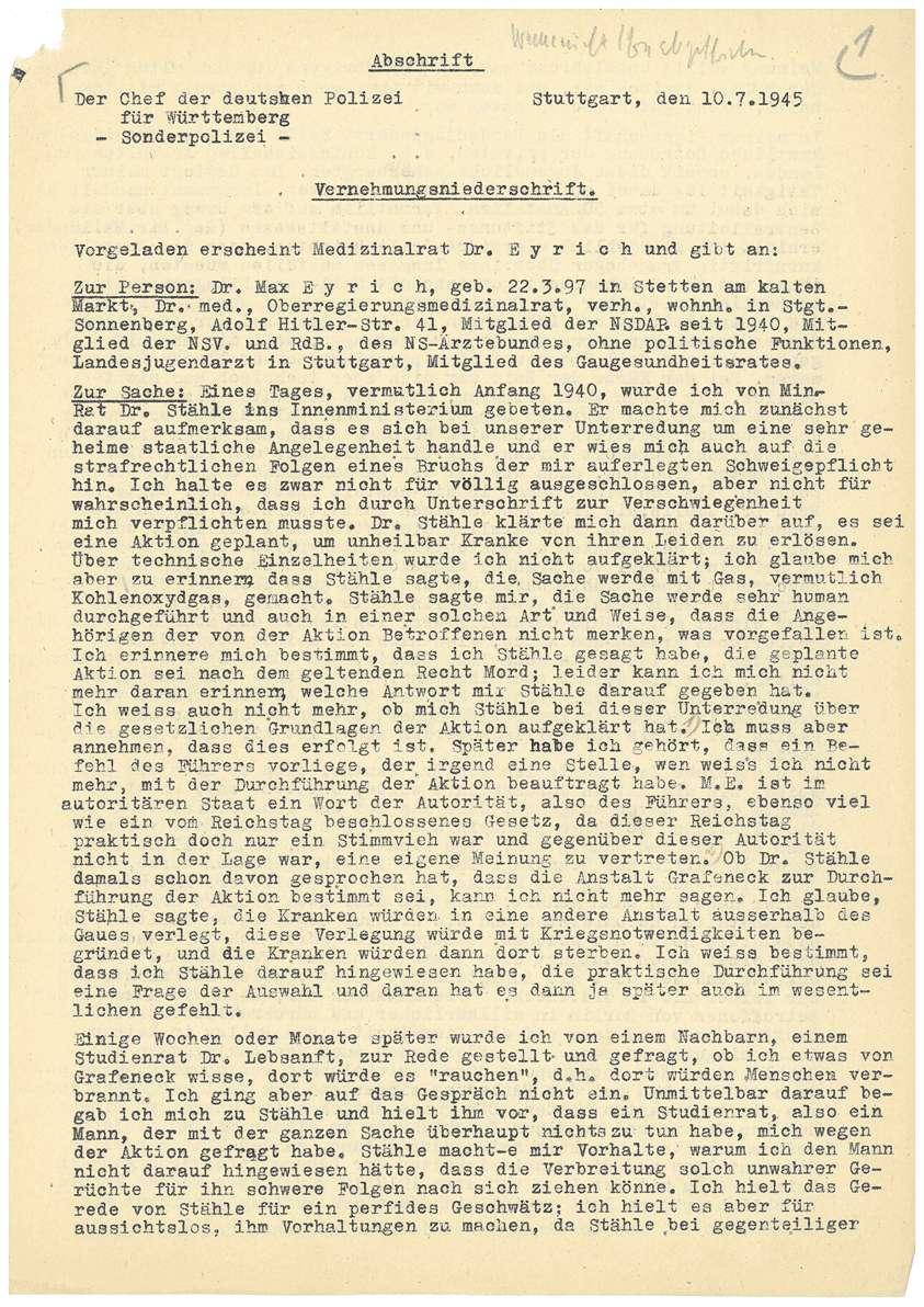 Dr. med. Max Eyrich - Vernehmung am 10.07.1945 durch den Polizeichef Stuttgart - Bl. 1-4, Bild 1