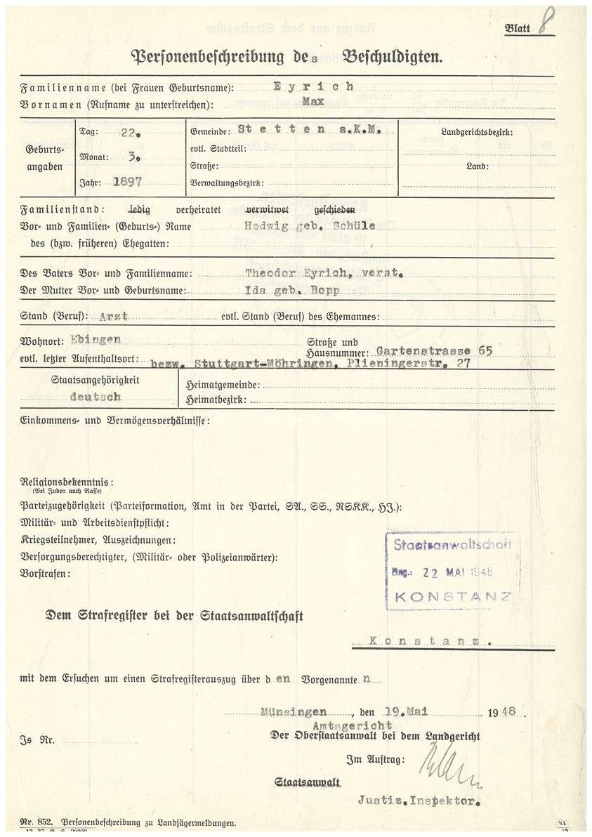 Dr. med. Max Eyrich - Vernehmung am 08.03.1948 durch das Amtsgericht Münsingen, Personenbeschreibung - Qu. 5-7, Qu. 8, Bild 1