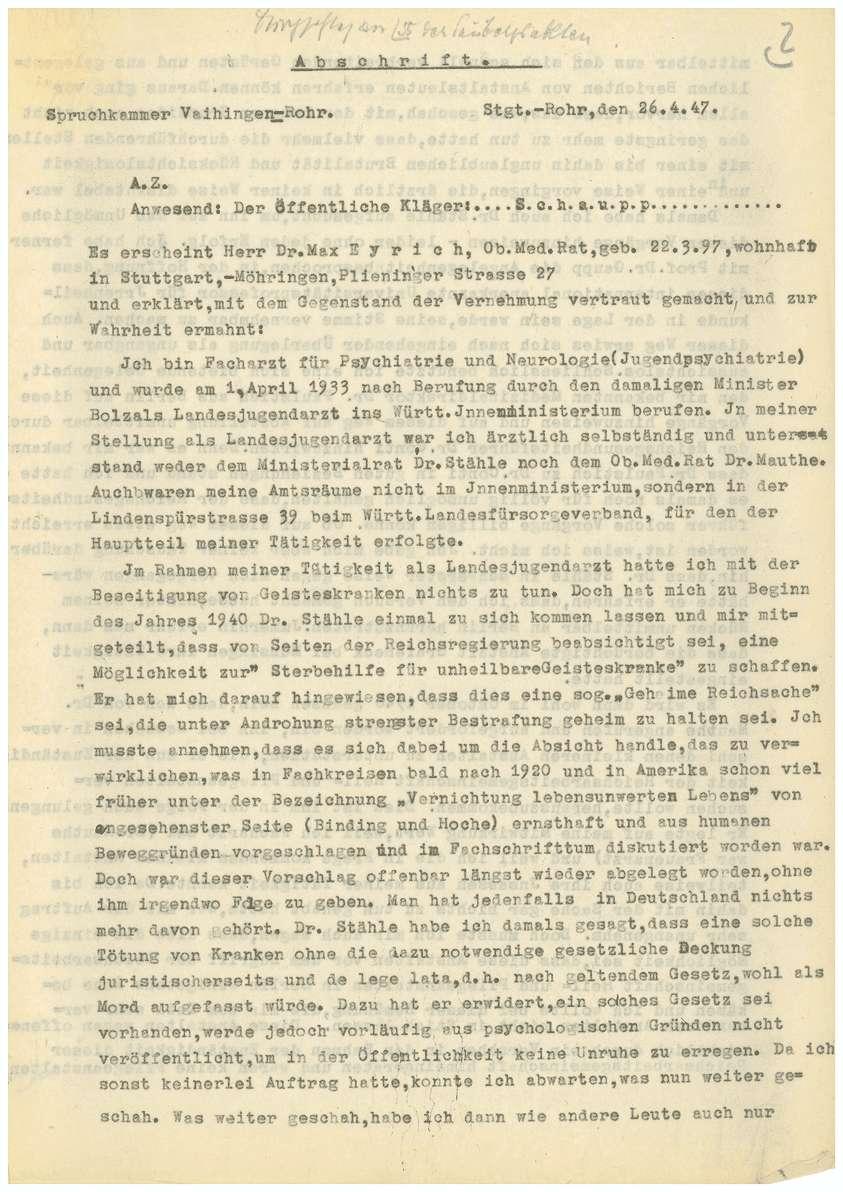 Dr. med. Max Eyrich - Vernehmung am 26.04.1947 (Abschrift) - Qu. 1-8, Bild 1