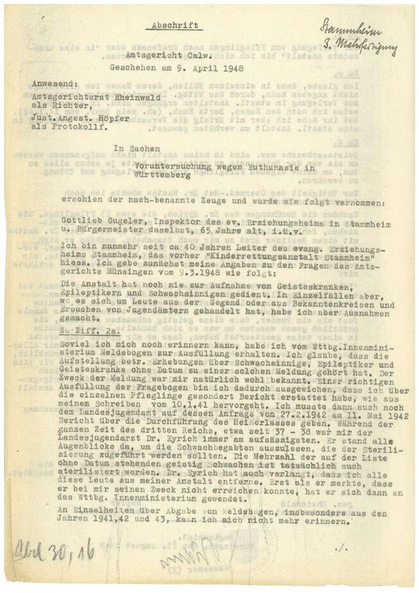Zeugenaussagen Landesfürsorgeanstalt Rappertshofen, Inspektor Gottlieb Gugeler u.a., Bild 1