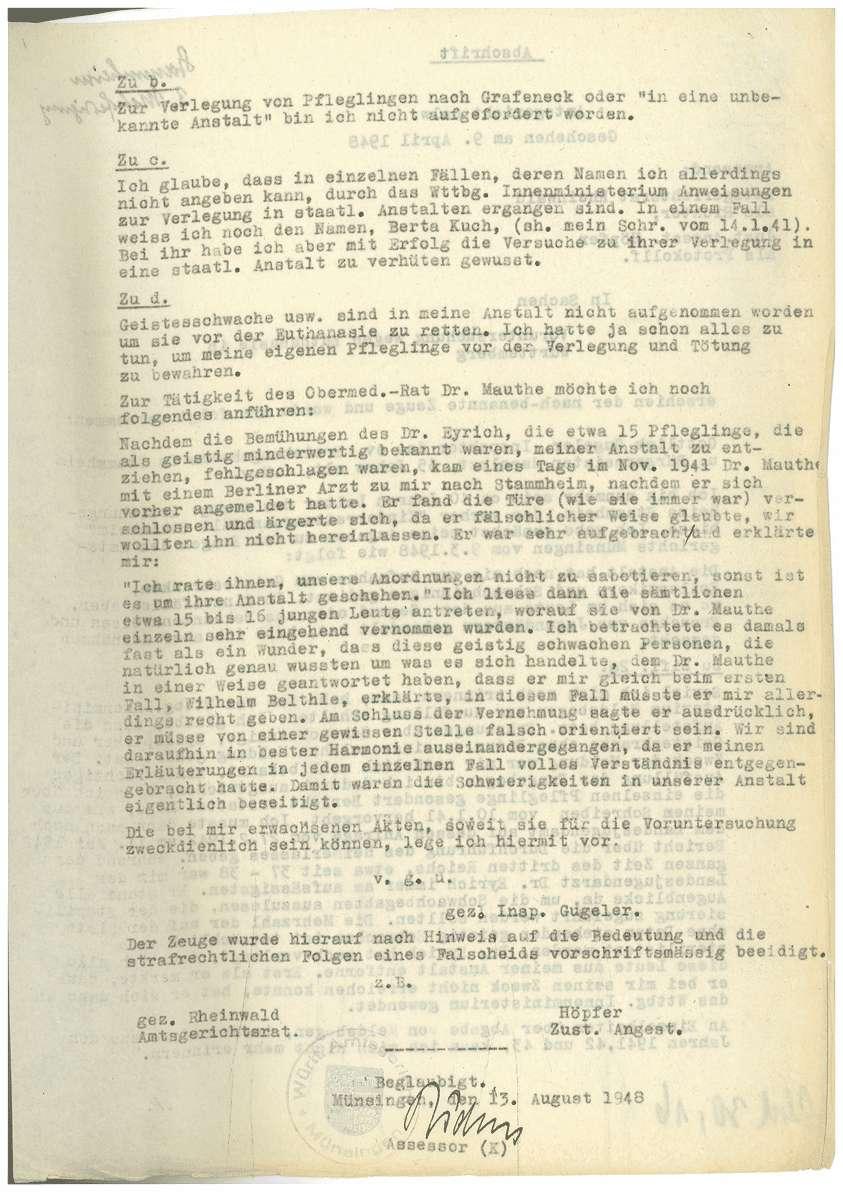 Zeugenaussagen Landesfürsorgeanstalt Rappertshofen, Inspektor Gottlieb Gugeler u.a., Bild 2