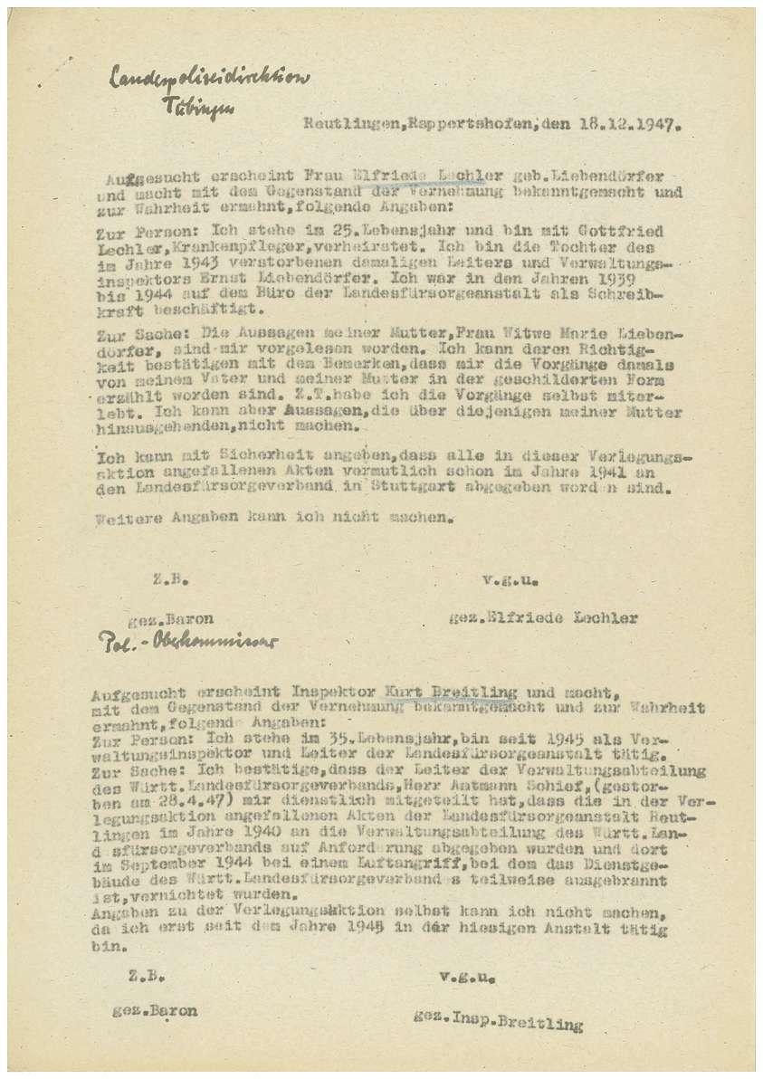 Zeugenaussagen Landesfürsorgeanstalt Rappertshofen, Inspektor Gottlieb Gugeler u.a., Bild 3