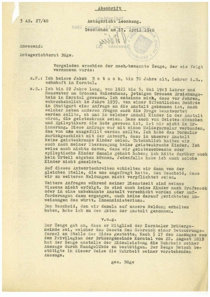 Zeugenaussagen - Waisenhaus Korntal, Gustav Barchet; Paulinenpflege Kirchheim/Teck, Karl Schönleber, Bild 3