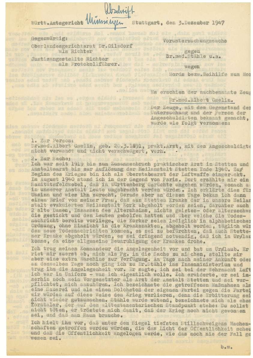 Zeugenaussagen - Heilanstalt Stetten im Remstal, Bild 2