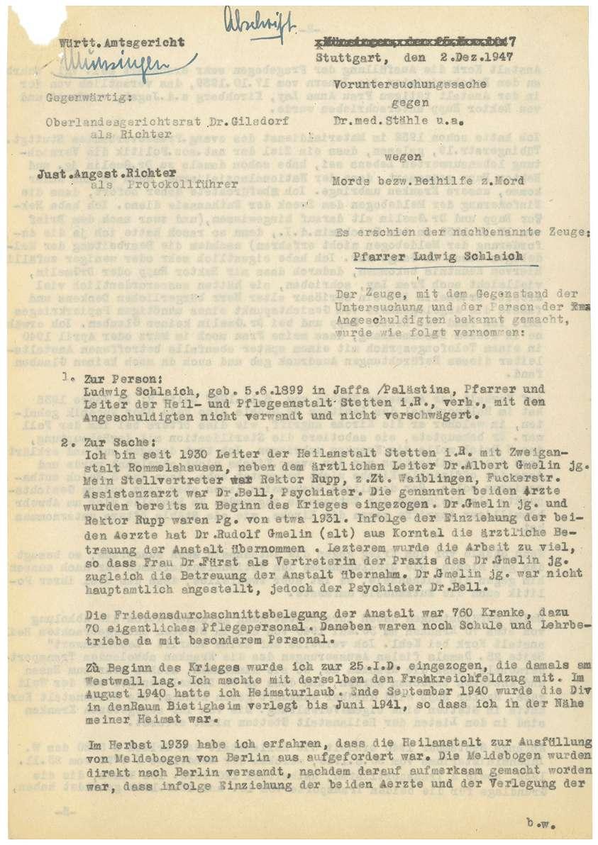 Zeugenaussagen - Heilanstalt Stetten im Remstal, Bild 3