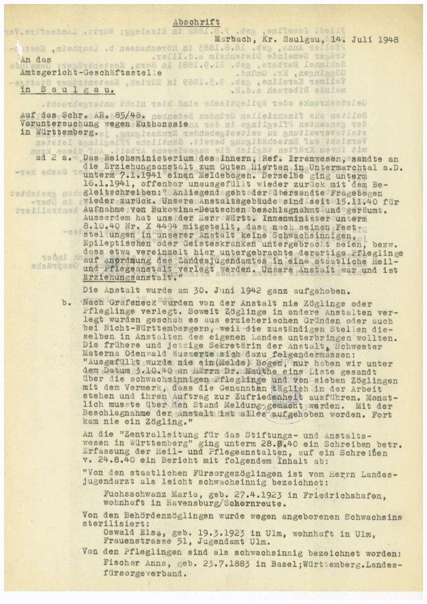 Zeugenaussagen - Konradihaus Schelklingen, Erziehungsanstalt Heiligenbronn, Anstalt Eckwälden, Bild 3