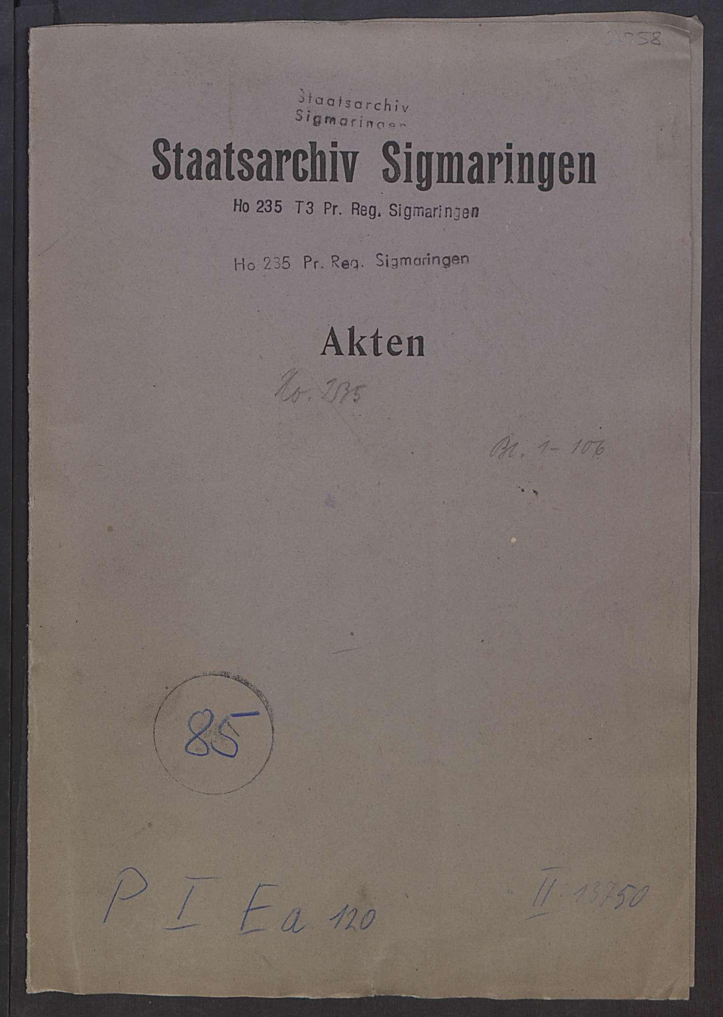 Denkschrift des Regierungspräsidenten Graf von Brühl über die etwaige Neuregelung der staatlichen Zugehörigkeit der Hohenzollerischen Lande vom 14. März 1919, Bild 1