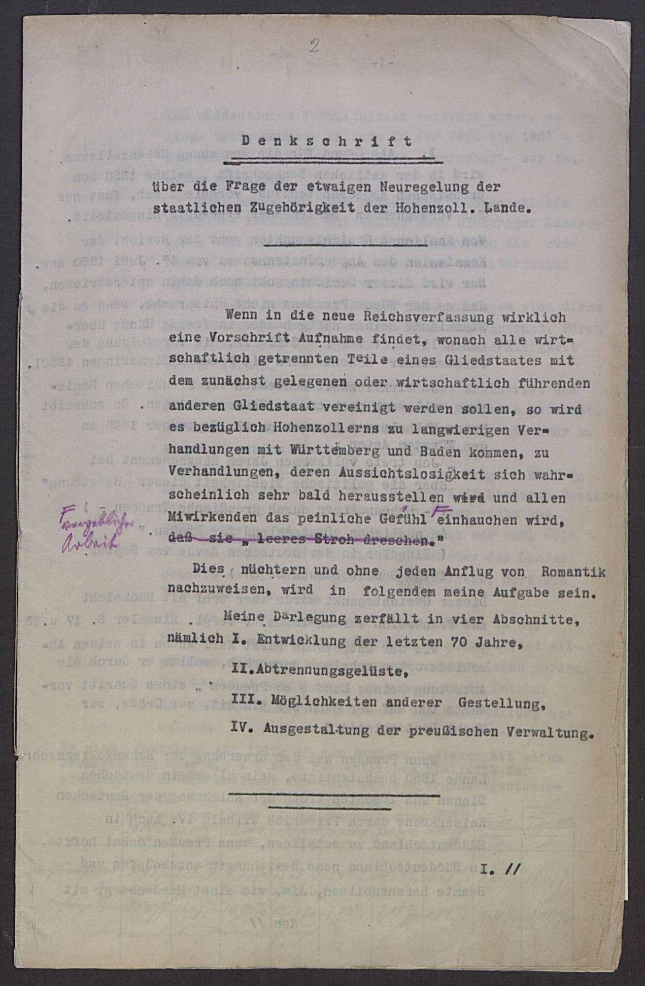 Denkschrift des Regierungspräsidenten Graf von Brühl über die etwaige Neuregelung der staatlichen Zugehörigkeit der Hohenzollerischen Lande vom 14. März 1919, Bild 3